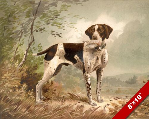 LOYAL HUNTING DOG WITH BIRD CATCH PET DOG ART PAINTING PRINT ON REAL CANVAS