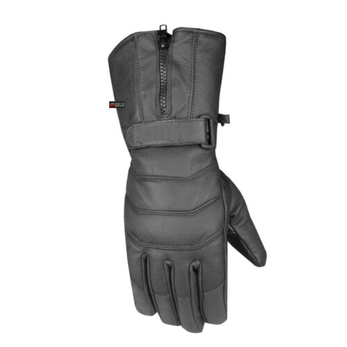 Men's Thermal Sheep Leather Winter Motorcycle Street Cruiser Gloves Black