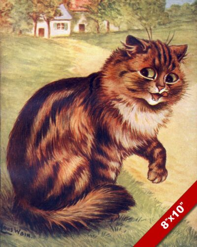 LOUIS WAIN STRIPED LONG HAIRED TABBY  CAT PET ART PAINTING REAL CANVAS PRINT