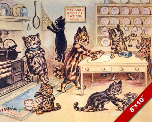 CATS BUSY WORKING IN THE KITCHEN LOUIS WAIN ART PAINTING REAL CANVAS PRINT