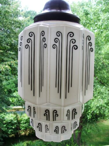 ART DECO MILK GLASS SKYSCRAPER PENDANT LIGHT FIXTURE-VINTAGE