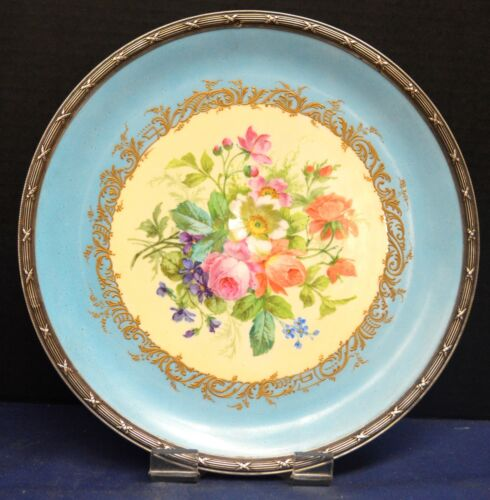 Antique French or German Porcelain Floral Tray with Silver Mount