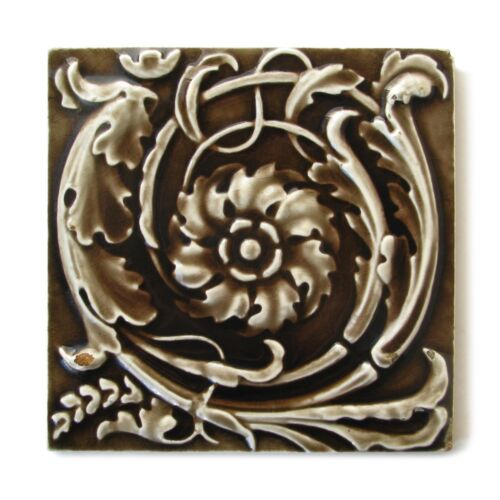 Antique Victorian Tile Rococo Embossed Majolica Floral Providential Tile Works