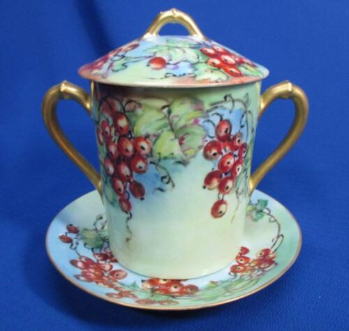 HAND-PAINTED CURRANTS ON PORCELAIN CONDENSED MILK CAN HOLDER & UNDERPLATE