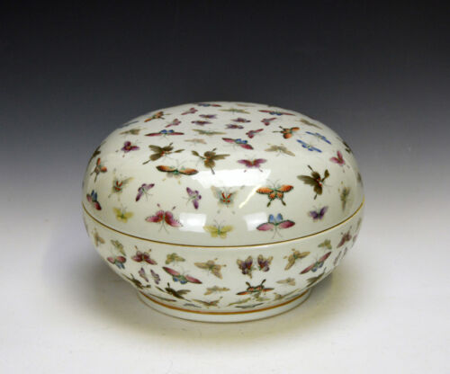 A Very Rare Chinese Famille Rose Butterfly Heavy Porcelain Box - Marked