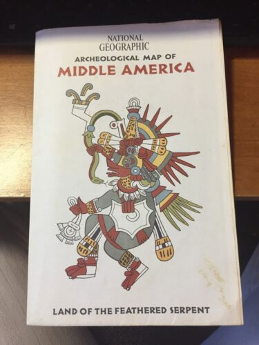 1968 NATIONAL GEOGRAPHIC ARCHEOLOGICAL MAP OF MIDDLE AMERICA FFEATHERED SERPENT