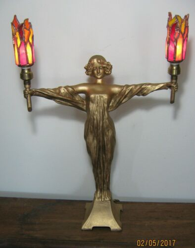 EARLY 1900'S ART NOUVEAU DECO LAMP SPELTER FIGURAL STATUE STAINED GLASS SHADES