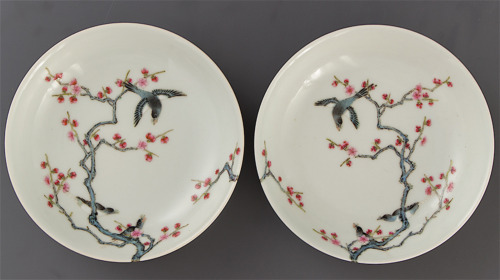2x YONGZHENG MAGPIE & PRUNUS MIRROR PAIR DISHES antique Chinese Porcelain MARKED
