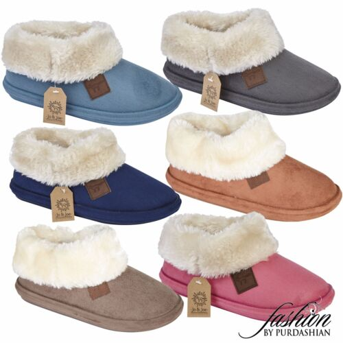 Ladies Slipper Boots Suede Fur Lined Winter Warm Thermal Ankle Bootie Shoes