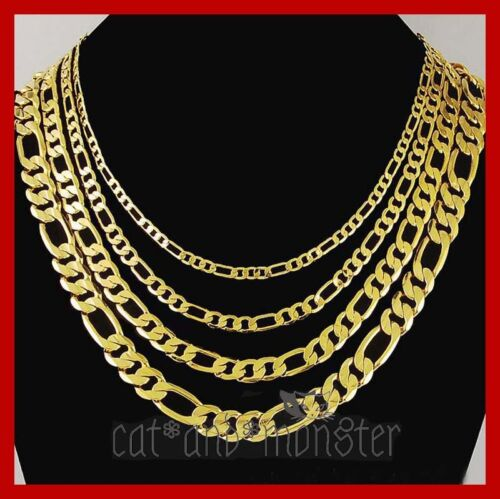 24K YELLOW GOLD GF FIGARO CURB CHAIN WOMENS MENS SOLID CHARM 16-30INCH NECKLACE