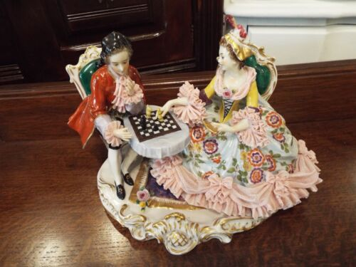 GERMAN DRESDEN LACE FIGURAL GROUP LADY MAN COURTING SCENE PLAYING CHESS  NR