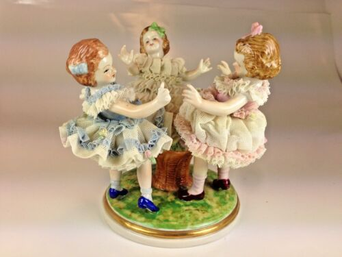 Antique Moritz Zdekauer German Porcelain Three Girls Dancing Lace Figurine