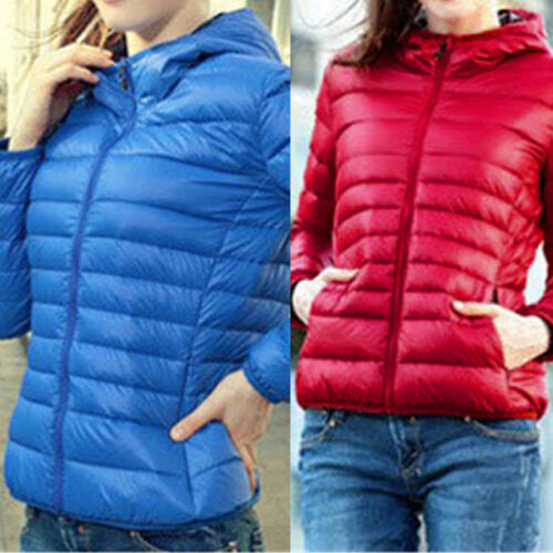 Winter Womens Slim Hooded Coat zipper Trench Jacket Parka Outwear Overcoat