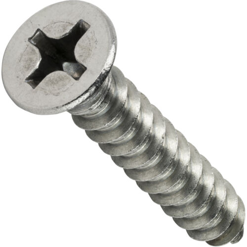 #8 Phillips Flat Head Self Tapping Sheet Metal Screws Stainless Steel All Sizes