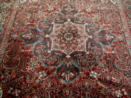 10X7 1940's SPECTACULAR FINE HAND KNOTTED 70+YRS ANTIQUE WOOL HERIZ PERSIAN RUG