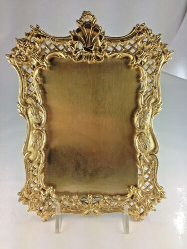 Antique Rococo Brass Victorian Hanging Picture Frame, National Brass & Iron Work