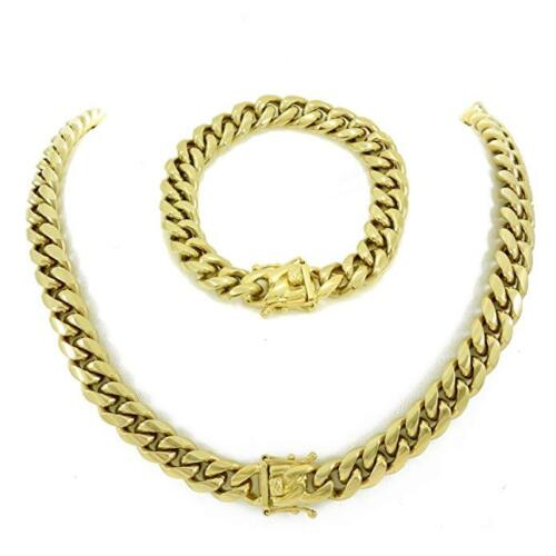 12mm Men Cuban Miami Link Bracelet & Chain Set  14k Gold Plated Stainless Steel