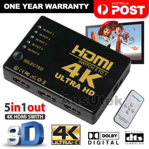 4K 1080P 3 5 Port HDMI HDTV Auto Switch Switcher Selector Splitter Hub iR Remote