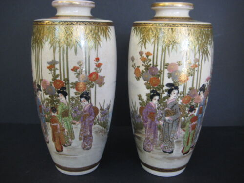 "PAIR ANTIQUE JAPANESE SATSUMA HAND PAINTED WOMEN & LANDSCAPE VASES, 8 1/2"" TALL"