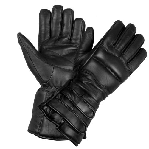 New Men's Thermal Sheep Leather Winter Motorcycle Biker Riding Gloves Black