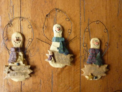 Snowman Resin Farmhouse Fall Primitive Country Christmas Signed set of 3 Hangers