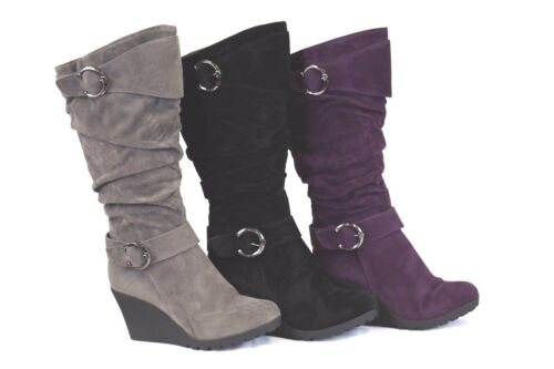 Women's Tall Grey/Black/Purple Wedge Faux Suede Slouch Slip On Buckle Boots
