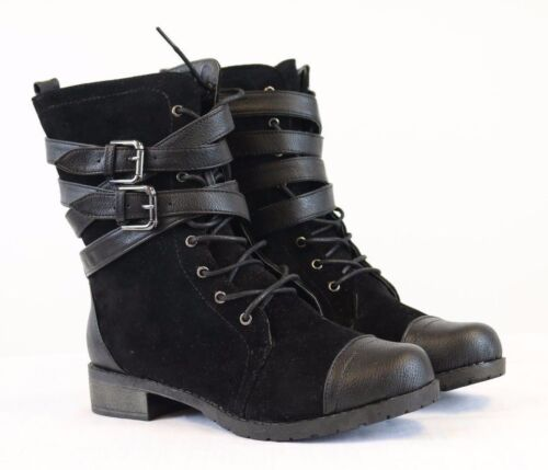 NEW Women's Black Combat Boots Suede Buckle Strap Lace Up Low Heel Boot