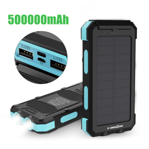 300000mAh Solar Power Bank 2USB External Battery Backup Charger for Cell Phone