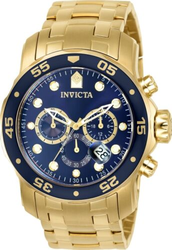 Invicta 0073 Men's Gold Tone Steel Blue Dial Chronograph Watch