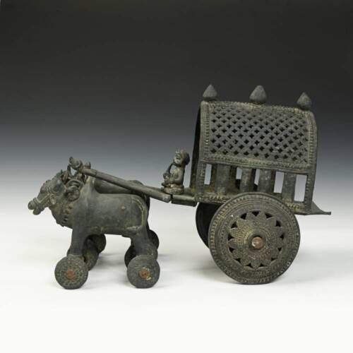 VINTAGE OX AND RIDER TEMPLE TOY GHORA AND RATHTHI BRASS INDIA EARLY 20TH C.