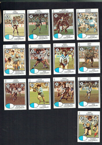 1975   Canterbury Bulldogs   Rugby League  Cards - All 13 Cards