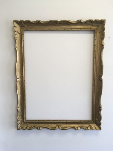 "VTG. MID-CENTURY Wide Carved Wood Chunky Picture FRAME Fits 25 1/2""x 33 1/2"""