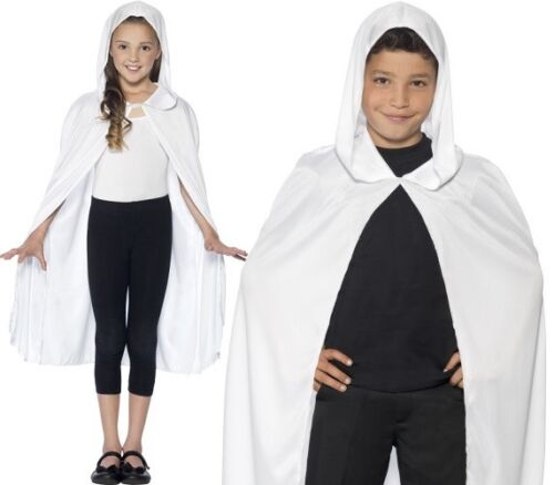 Childs Fancy Dress Hooded Cape White Childrens Kids Cloak By Smiffys