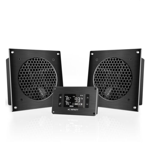 """AIRPLATE T8, Dual-Fan Cooling System 6"""" with Thermostat, Home Theater AV Cabinet"""