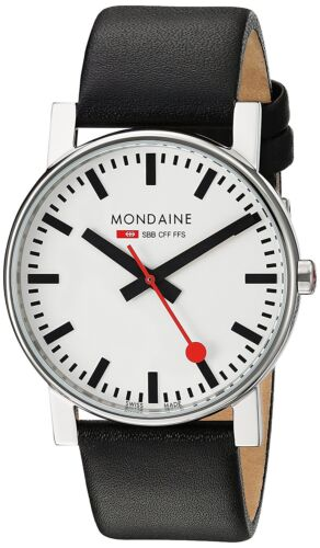 Mondaine Men's A660.30344.11SBB SBB EVO 38mm White Dial Black Leather Watch