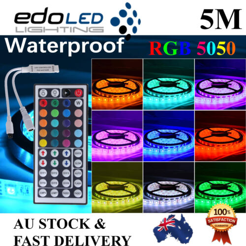 Waterproof 5050 RGB 5M 300 LED SMD LEDS Strip Light 12V + 44 key IR Controller <br/> Super Bright 5050, Quality, 2yr Warranty, FAST Delivery