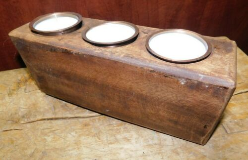 3 Hole Wooden Sugar Mold Wood Candle Holder Primitive Stand Tin Votives & Candle