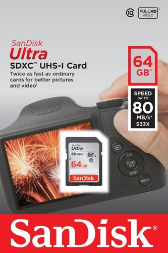 SanDisk Ultra 64GB 80MB/s SDXC SDHC Class 10 533x SD Camera Flash Memory Card