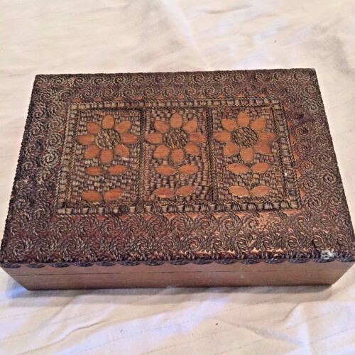 Wooden Box Carved Flowers Poland Metal Work Wood Vintage Jewelry Cards  (P)
