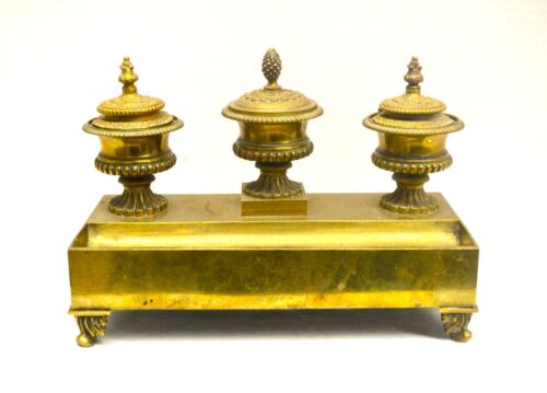Antique French Empire Style Bronze or Brass Triple Ink Stand or Standish