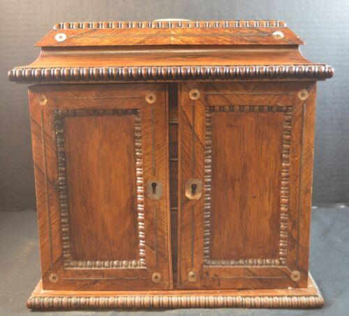 Antique Anglo Indian Rosewood Jewelry Chest with Mother of Pearl Inlays