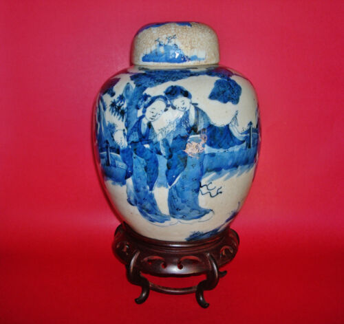 18th Century Chinese Kangxi Period Crackled glaze Porcelain Covered Ginger Jar