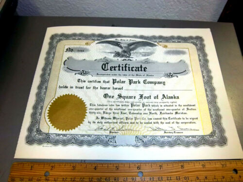 vintage One Square foot of Alaska certificate from the 1950s, Great Graphics!