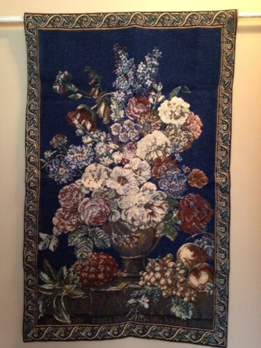 Vintage Flower Fruit European blue Chenille Jacquard Woven Tapestry Wall Hanging