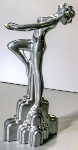 "Frankart style art deco nymph with her arms out sanded aluminum figurine 9"" USA"