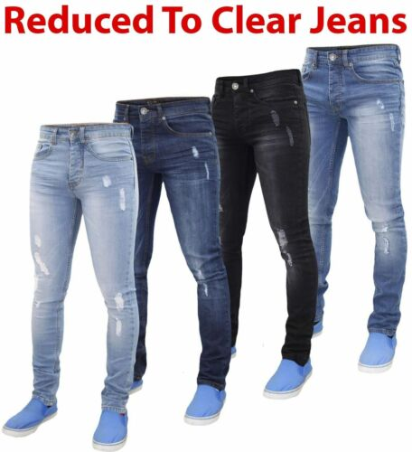 Mens Skinny Ripped Jeans Super Stretch Denim Pants Trousers Blue All Waist Sizes