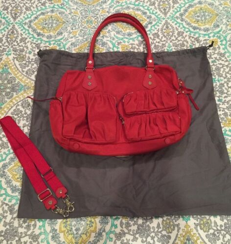 MZ Wallace Kate Mom Bag Tote Diaper Bag Work Tote Vermillion Red EUC RV $395