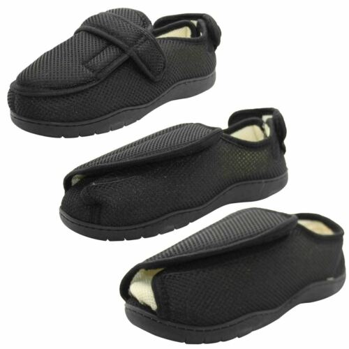 Men Ladies Diabetic Slippers Orthopedic House Hard Sole Wide Fit Fitting Strap