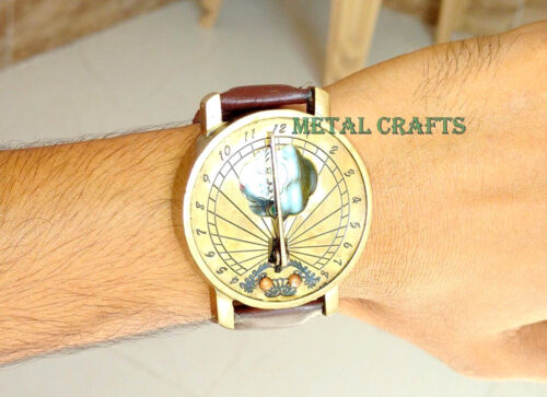Sundial Brass Compass Wrist Watch Men Women Steampunk Lover Fashion Christmas