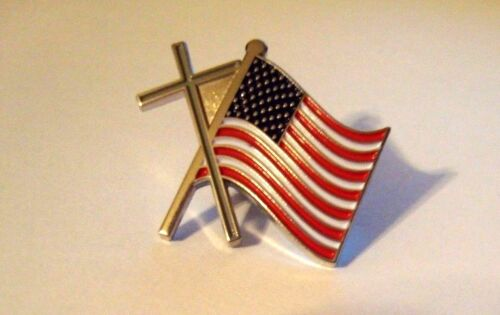 Cross and United States Flag Silver Hat Pin Pins - 104020